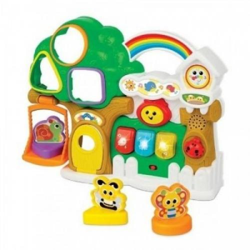 Jucarie interactiva si muzicala bebelusi Winfun Casuta din copac cu forme de sortat - Jucarii bebelusi - Jucarie muzicala