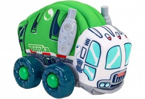 Jucarie moale pentru copii tip masina de Gunoi Globo Tonka cu sunete cu roti si accesorii din plastic Verde - Plimbare bebe - Masinute fara pedale