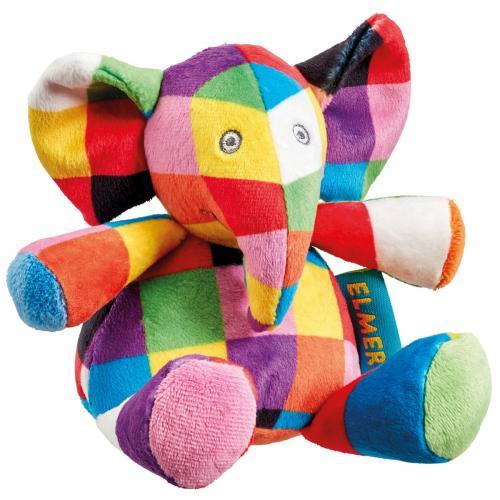 Jucarie zornaitoare din plus elefantul elmer - 14 cm - Jucarii copilasi - Jucarii din plus