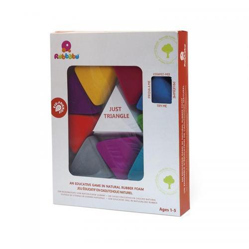 Jucarii senzoriale - educative din cauciuc natural - triunghiuri colorate - 1 an+ - Rubbabu - Jucarii copilasi - Avioane jucarie