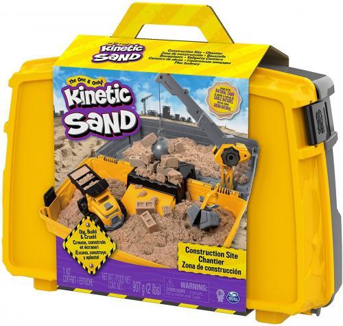 Kinetic sand set excaveaza construieste si demoleaza in cutie cu maner - Jucarii copilasi - Toys creative