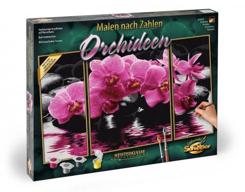 Kit pictura pe numere schipper orhidee - 3 tablouri - Jucarii copilasi - Toys creative