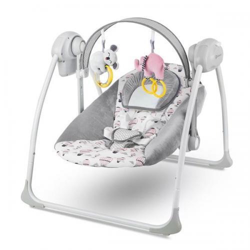 Leagan portabil 2 in 1 FLO PINK cu conectare la priza - Camera bebelusului - Leagane si balansoare