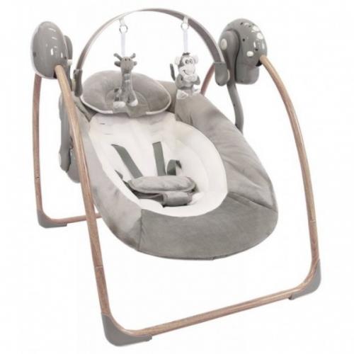 Leagan portabil BO Jungle Gri pentru bebelusi din lemn cu arcada jucarii - Camera bebelusului - Calut balansoar