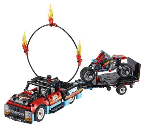 LEGO® Technic Camion si motocicleta pentru cascadorii - Jucarii copilasi - Jucarii de constructie