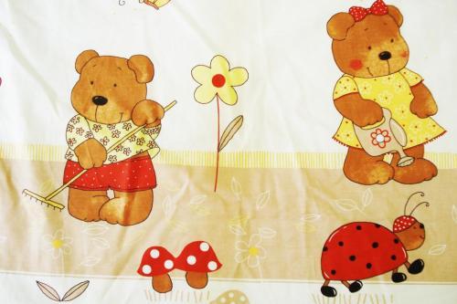 Lenjerie Mykids Teddy Gradina Maro 4 Piese 120x60 - Camera bebelusului - Lenjerii patut