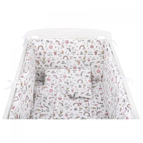 Lenjerie patut 5 piese 120x60 cm - Unicorni - Roz - Camera bebelusului - Lenjerii patut