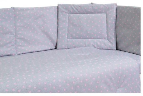 Lenjerie patut cu 5 piese Pink Stars Grey - Camera bebelusului - Lenjerii patut