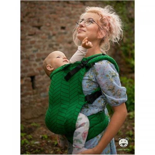 Luna Dream - Marsupiu ajustabil - Herringbone Green - Plimbare bebe - Marsupiu bebelusi
