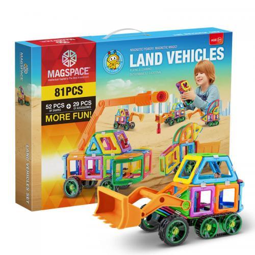 Magspace 81 Piese - Land Vehicles - Joc Magnetic Educativ de Constructie 3D - Jocuri pentru copii - Jocuri magnetice