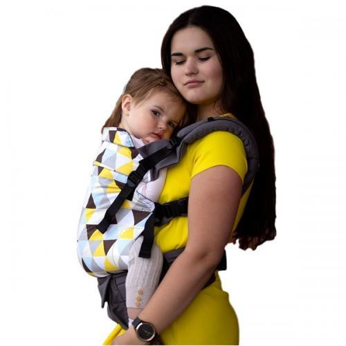 Marsupiu ergonomic - 35 kg-20 kg - Kinder Hop – Multi Grow - Yellow Triangles - Plimbare bebe - Marsupiu bebelusi