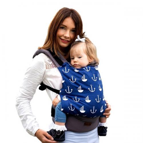 Marsupiu ergonomic cu 2 pozitii de transport - 55 kg-20 kg - Kinder Hop – Basic - Marine - Plimbare bebe - Marsupiu bebelusi
