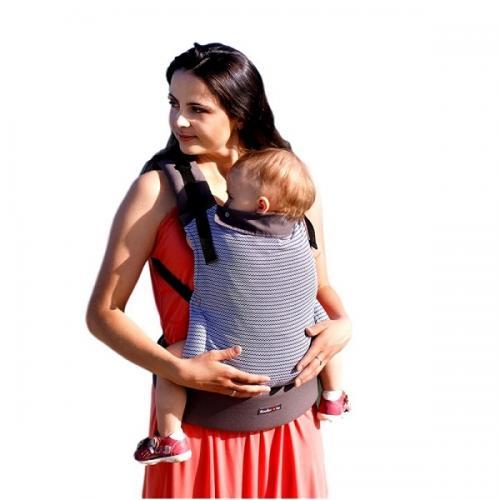 Marsupiu ergonomic cu 2 pozitii de transport - 55 kg-20 kg - Kinder Hop – Basic - Marine Zig Zag - Plimbare bebe - Marsupiu bebelusi