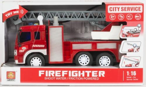 Masinuta de pompieri cu furtun pentru stropire apa frictiune sunete si lumini scara 1 la 16 - Jucarii copilasi - Avioane jucarie