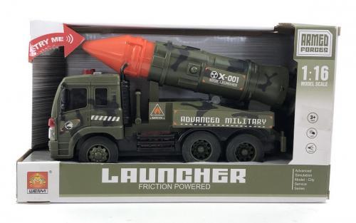Masinuta militara cu racheta frictiune lumini si sunete scara 1 la 16 - Jucarii copilasi - Avioane jucarie
