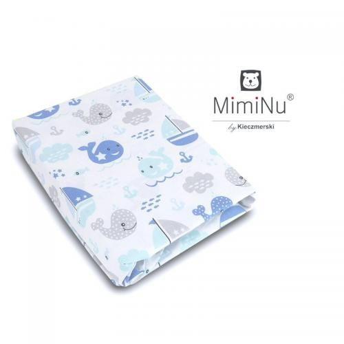 MimiNu - Cearceaf cu elastic - 120X60 cm - Blue fish - Camera bebelusului - Lenjerii patut