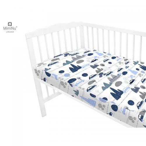 MimiNu - Cearceaf cu elastic - 120X60 cm - Childrens Journey blue - Camera bebelusului - Lenjerii patut