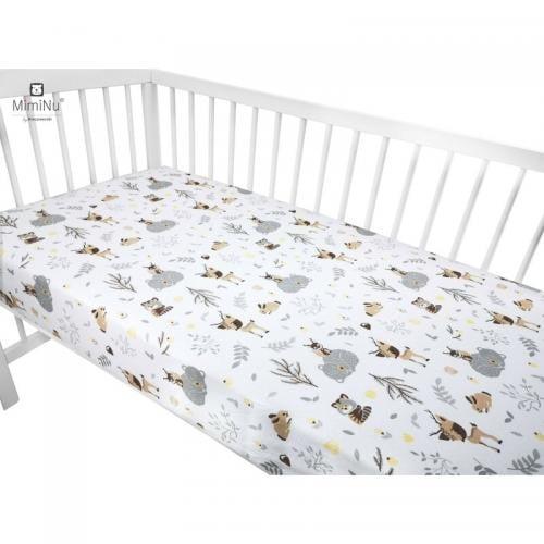 MimiNu - Cearceaf cu elastic - 120X60 cm - Forest friends Grey/Beige - Camera bebelusului - Lenjerii patut