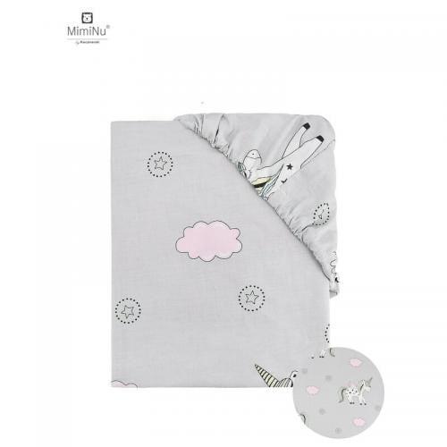 MimiNu - Cearceaf cu elastic - 120X60 cm - Pink Unicorn - Camera bebelusului - Lenjerii patut