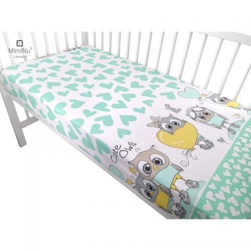 MimiNu - Cearceaf cu elastic - 140X70 cm - Cute owls mint - Camera bebelusului - Lenjerii patut