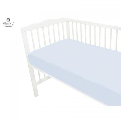 MimiNu - Cearceaf Jerse cu elastic - 120X60 cm - Light blue - Camera bebelusului - Lenjerii patut