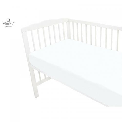 MimiNu - Cearceaf Jerse cu elastic - 140X70 cm - White - Camera bebelusului - Lenjerii patut