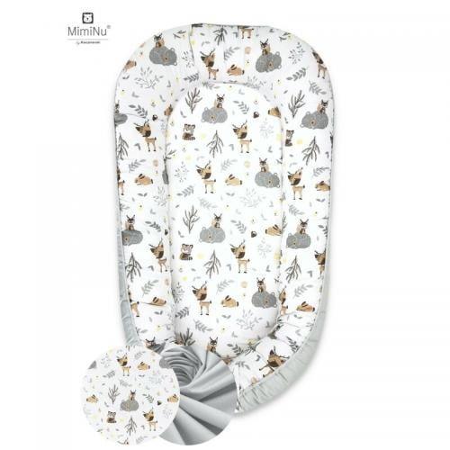 MimiNu - Cosulet bebelus pentru dormit - Baby Nest 105x66 cm - Forest Friends Grey/Beige - Camera bebelusului - Baby nest