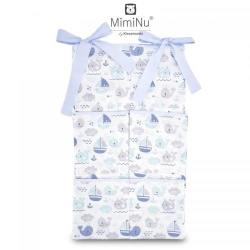 MimiNu - Organizator pentru patut - 6 compartimente - Blue fish - Camera bebelusului - Lenjerii patut