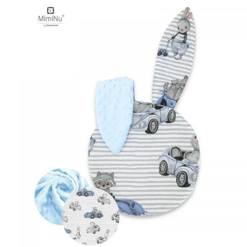 MimiNu - Perna bebelusi cu urechi - Minky Old Road blue - Perna bebelusi -