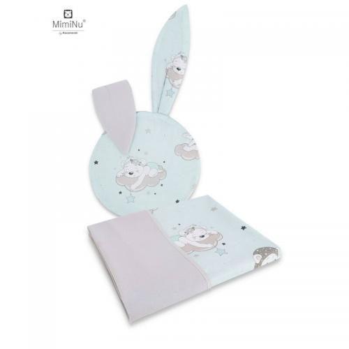 MimiNu - Set perna bebelus cu urechi si paturica 100x75 cm - Bears on clouds mint - Camera bebelusului - Accesorii patuturi