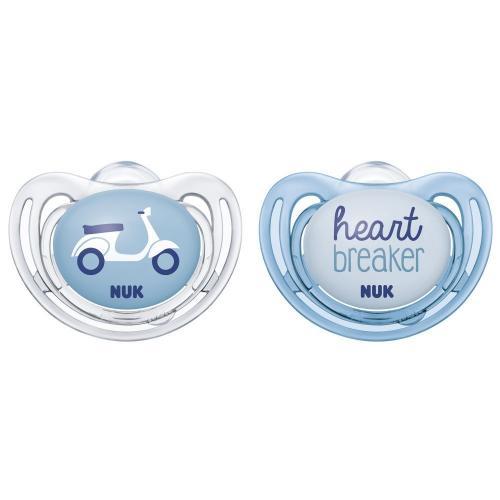 Nuk Suzeta Freestyle Silicon M1 Blue 0-6 luni 2 Bucati Set - Hrana bebelusi - Suzeta bebe