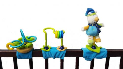 Olmitos - Jucarie multifunctionala pentru carucior albastra - Jucarii copilasi -
