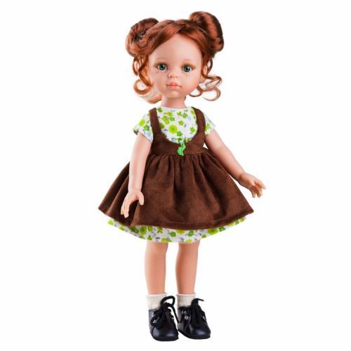 Papusa Cristi in rochie cu floricele verzi si sarafan maro- Paola Reina - Papusi ieftine -