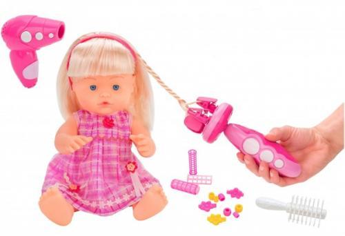 Papusa fetita cu sunete 40 cm Globo Bimbo 38931 cu accesorii frumusete si dispozitiv impletit parul - Papusi ieftine -