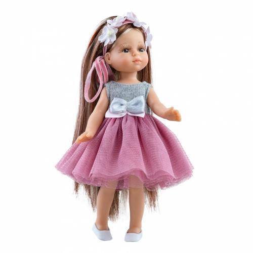 Papusa JUDITH cu fusta din tul roz si parul lung cu suvite - MiniAmigas - Paola Reina - Papusi ieftine -