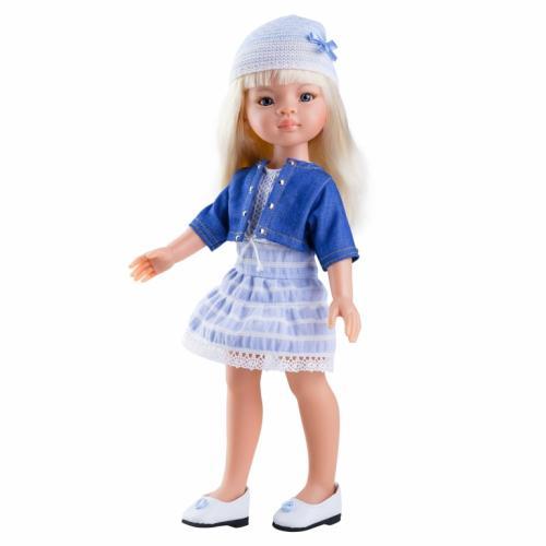 Papusa Manica in rochie bleu si bolero din denim - Paola Reina - Papusi ieftine -
