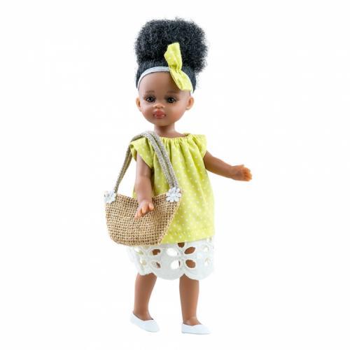 Papusa NOAH in rochie galbena cu buline - MiniAmigas - Paola Reina - Papusi ieftine -