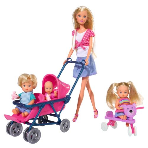 Papusa Simba Steffi Love 29 cm Baby World in bluza cu buline - cu 2 copii - 1 bebelus si accesorii - Papusi ieftine -
