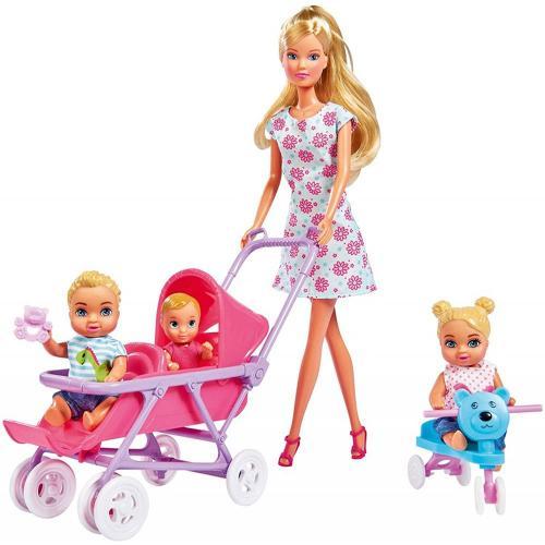 Papusa Simba Steffi Love 29 cm Baby World in rochie cu floricele - cu 2 copii - 1 bebelus si accesorii - Papusi ieftine -