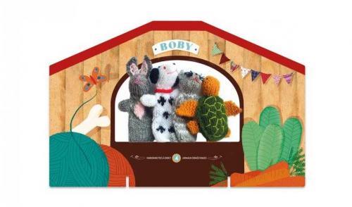 Papusi tricotate pentru teatru cu papusi - animale londji - Jucarii copilasi -