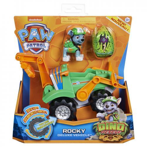 Patrula catelusilor set vehicul cu catelus rocky si figurina dino surpriza - Jucarii copilasi - Avioane jucarie