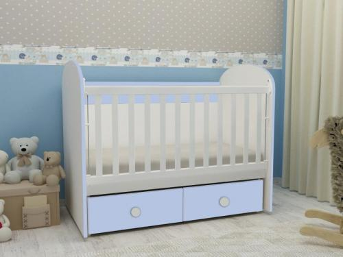 Patut cu leganare MyKids Diana 2 Alb-Albastru 021PE - Camera bebelusului - Patut copii