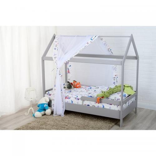 Patut din lemn Casuta 160x80 cm - Gri - Camera bebelusului - Patut copii