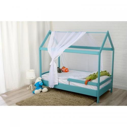 Patut din lemn Casuta 160x80 cm - Mint - Camera bebelusului - Patut copii