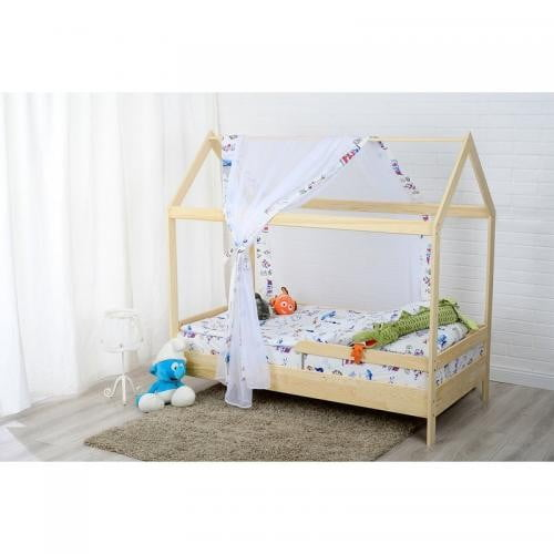 Patut din lemn Casuta 160x80 cm - Natur - Camera bebelusului - Patut copii