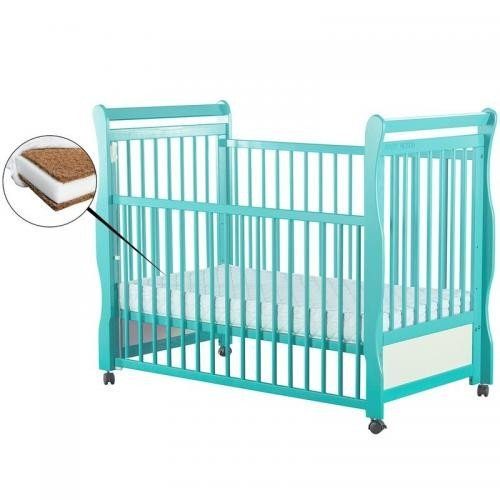 Patut din lemn Jas 120x60 cm cu laterala culisanta Mint + Saltea 10 cm - Camera bebelusului - Patut copii