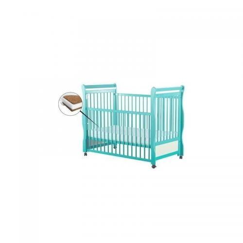 Patut din lemn Jas 120x60 cm - cu laterala culisanta - Mint+ Saltea 8 cm - Camera bebelusului - Patut copii