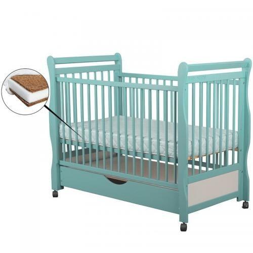 Patut din lemn Jas 120x60 cm - cu sertar - Mint + Saltea 10 cm - Camera bebelusului - Patut copii