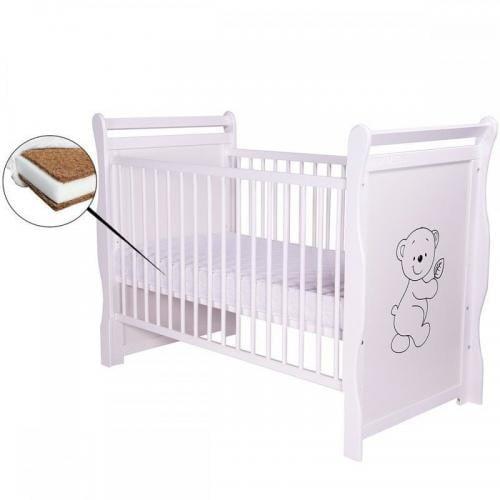 Patut din lemn Jas Ursulet 120x60 cm - Alb + Saltea 12 cm - Camera bebelusului - Patut copii