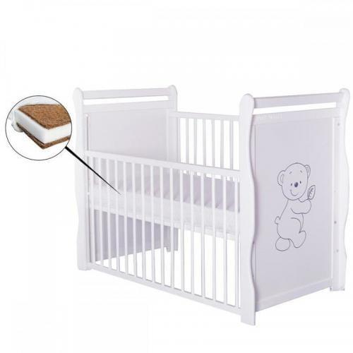 Patut din lemn Jas Ursulet 120x60 cm - cu laterala culisanta - Alb + Saltea 8 cm - Camera bebelusului - Patut copii